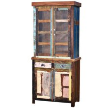 Painted Curio W/Glass Top & Drawer Base