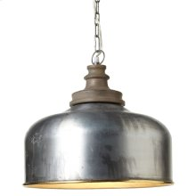 Large Gold Rim Pendant with Turned Wood Top. 100W Max. Plug-in with Hard Wire Kit Included.