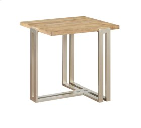 End Table Wood Top W/silver Metal Base