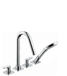 Chrome 4-hole tile mounted bath mixer with lever handles and escutcheons