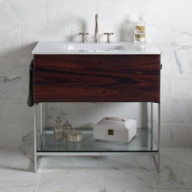 """Adorn 36-1/4"""" X 34-3/4"""" X 21"""" Vanity In Smoke Screen With Slow-close Plumbing Drawer, Towel Bar On Right Side, Legs In Brushed Aluminum and 37"""" Stone Vanity Top In Quartz White With Integrated Center Mount Sink and 8"""" Widespread Faucet Holes"""