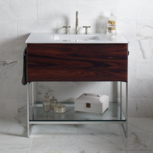 "Adorn 36-1/4"" X 34-3/4"" X 21"" Vanity In Smoke Screen With Push-to-open Plumbing Drawer, Towel Bar On Right Side, Legs In Brushed Aluminum and 37"" Stone Vanity Top In Quartz White With Integrated Center Mount Sink and 8"" Widespread Faucet Holes"