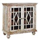 Bengal Manor Mango Wood 2 Glass Door Distressed Grey Cabinet Product Image