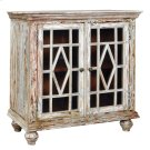 Bengal Manor Mango Wood 2 Glass Door Distressed Grey Cabinet Product Image