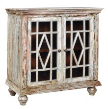 Bengal Manor Mango Wood 2 Glass Door Distressed Grey Cabinet