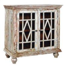 Bengal Manor Mango Wood 2 Glass Door Distressed Grey Cabinet