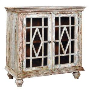 CRESTVIEW COLLECTIONSBengal Manor Mango Wood 2 Glass Door Distressed Grey Cabinet