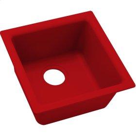 "Elkay Quartz Luxe 15-3/4"" x 15-3/4"" x 7-11/16"", Single Bowl Dual Mount Bar Sink, Maraschino"