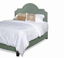 Queen Upholstered Scalloped Complete Bed - Blue Green Finish