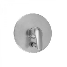 Polished Chrome - Round 2-Hole Plate With Flat Lever Trim For Pressure Balance Valve With Built-in Diverter (J-DIV-PBV)