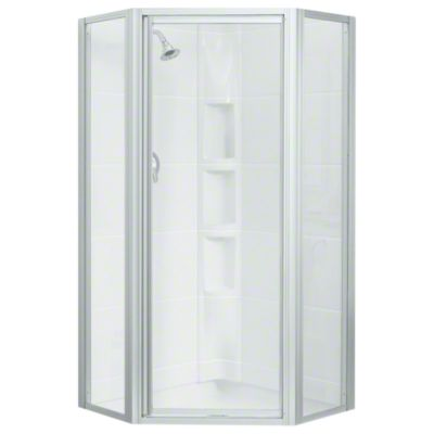 Intrigue™ Neo-angle Shower Door - Silver with Smooth/Clear Glass Texture