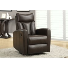 RECLINING CHAIR - SWIVEL GLIDER / BROWN BONDED LEATHER