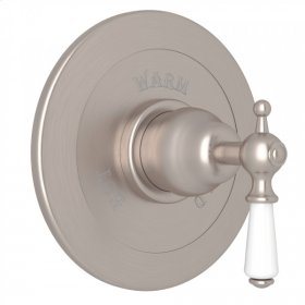 Satin Nickel Perrin & Rowe Edwardian Integrated Volume Control Pressure Balance Trim Without Diverter with Metal Lever