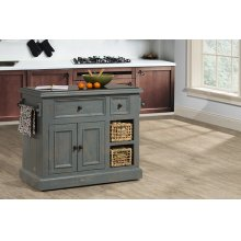 Tuscan Retreat® Medium Granite Top Kitchen Island With 2 Baskets - Nordic Blue With Antique Pine Top
