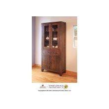 Cabinet w/2 glass doors, 2 drawers & 2 panel doors