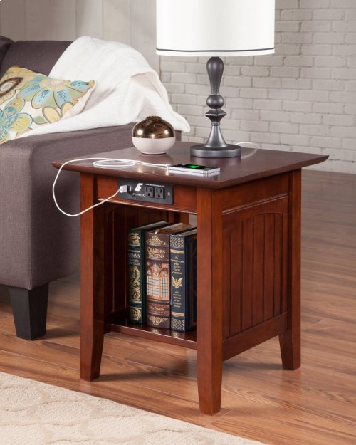 Nantucket End Table with Charger Walnut