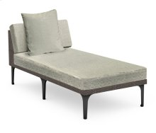 "32"" Dark Grey Rattan Chaise Lounge Sectional, Upholstered in Standard Outdoor Fabric"