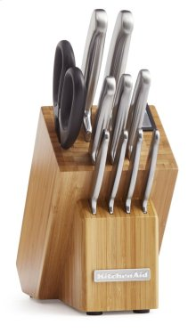 Classic Forged 12-Piece Brushed Stainless Cutlery Set - Bamboo Wood