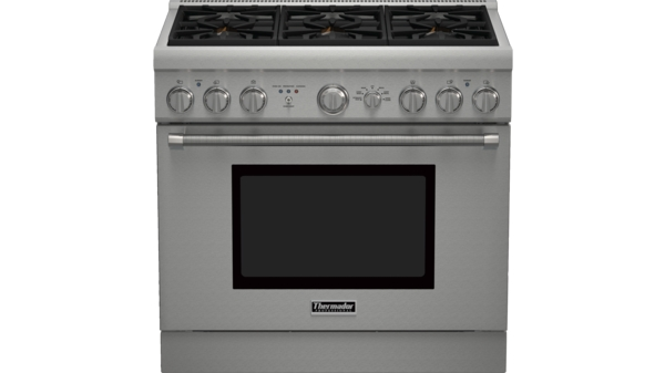 Professional Series 36 inch Dual-Fuel Standard-depth Range PRD366GHC - Porcelain Rangetop