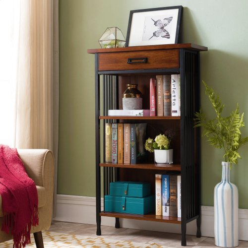 Ironcraft Mantel Height Bookcase with Drawer Storage #11262