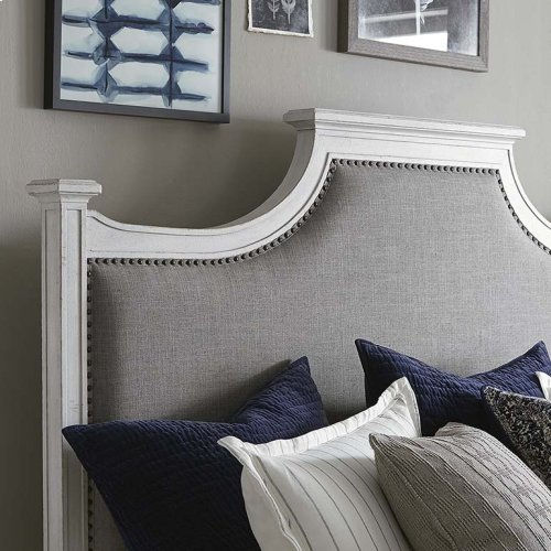 King/Aged Whitestone Bella Upholstered Panel Bed