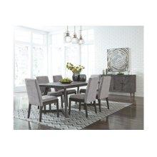 Besteneer Dark Grey Rectangular Dining Room Set: Table & 6 Chairs