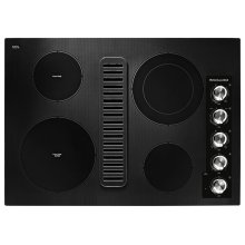 "30"" Electric Downdraft Cooktop with 4 Elements - Black"