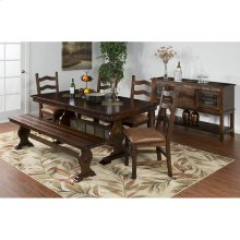 Santa Fe Trestle Table And 6 Chairs Set with Slates
