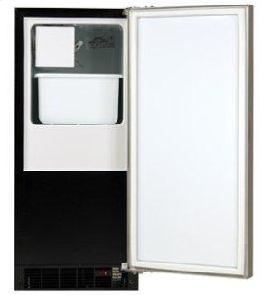 "Marvel 15"" Crescent Ice Machine - Solid Stainless Steel Door, Stainless Steel Handle - Left Hinge"