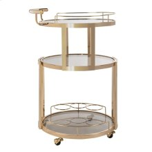 Rio 3 Tier Round Bar Cart and Wine Rack - Gold / Tinted Glass