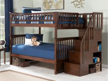 Columbia Staircase Bunk Bed Full over Full in Walnut
