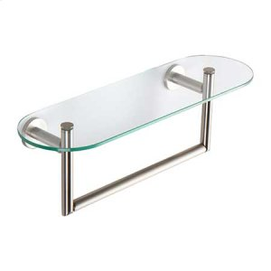 "Satin Nickel 18"" Shelf with Towel Bar"