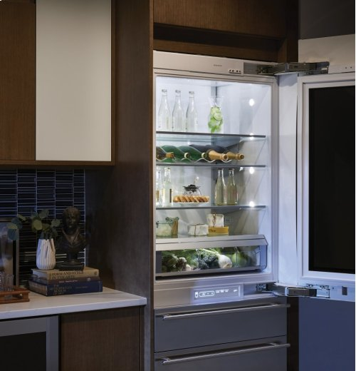 "Monogram 30"" Integrated Glass-Door Refrigerator for Single or Dual Installation"