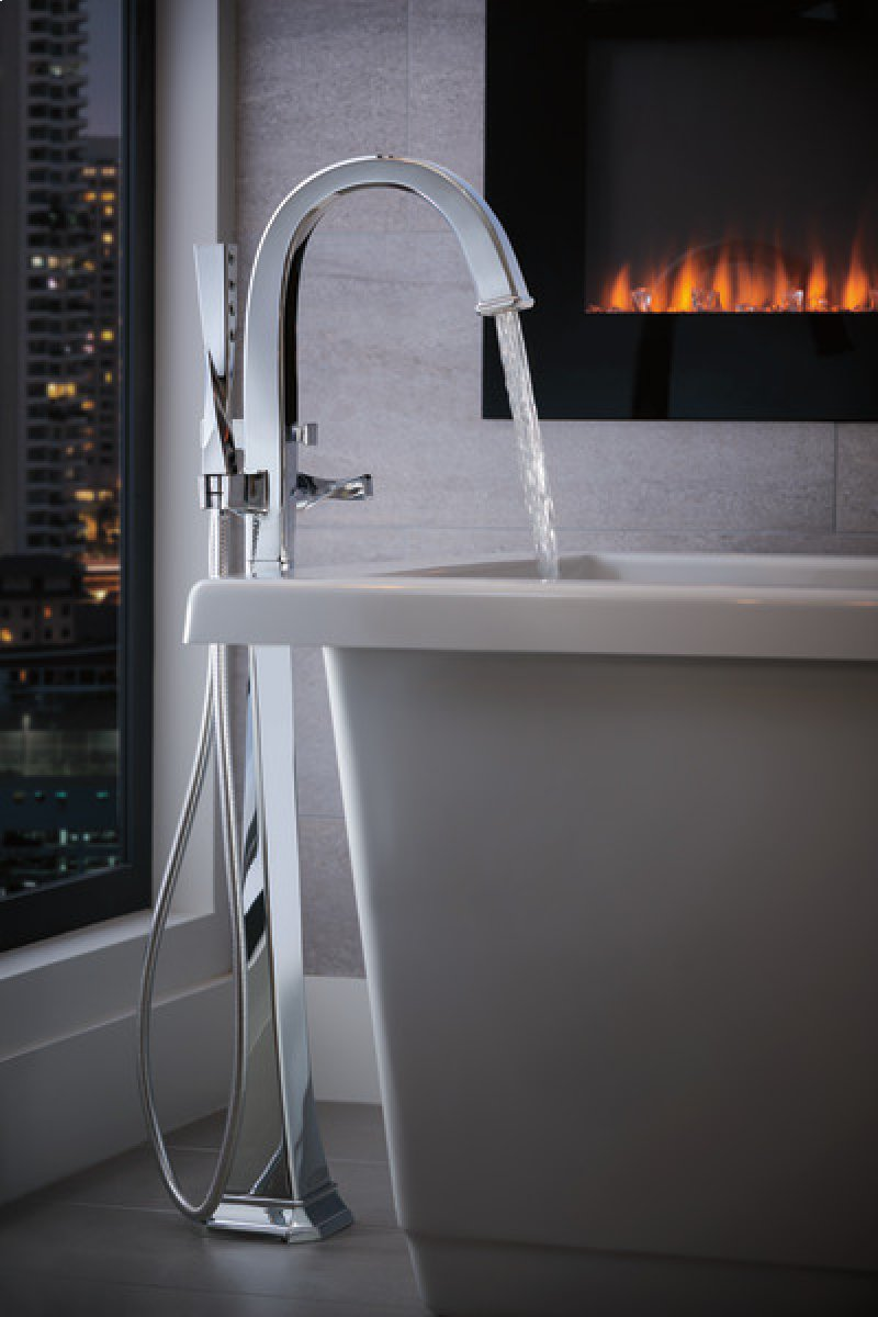 Brizo T70130PC | Studio41 | Single-handle Floor Mount Tub Filler