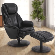 Black Breathable Air Leather with an Alpine Finish - 360 Degree Swivel - Adjustable Recline - Lumbar Support - Angled Ottoman - Durable Breathable Air Leather Cover