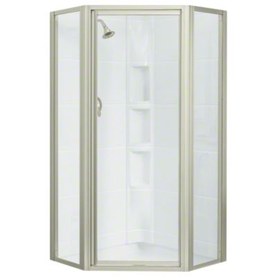 Intrigue™ Neo-angle Shower Door - Nickel with Smooth/Clear Glass Texture