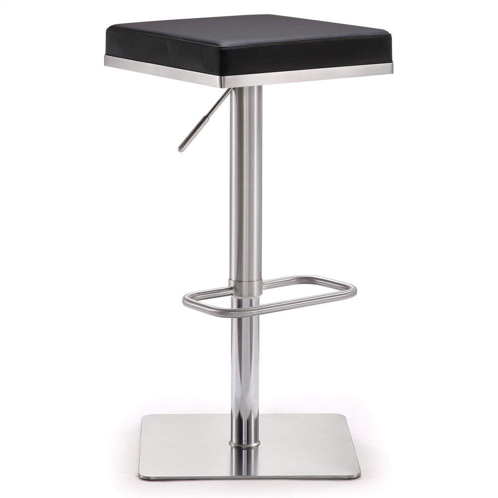 Bari Black Stainless Steel Adjustable Barstool