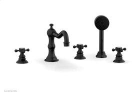 HENRI Deck Tub Set with Hand Shower with Cross Handles 161-48 - Gloss Black