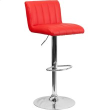 Contemporary Red Vinyl Adjustable Height Barstool with Vertical Stitch Back\/Seat and Chrome Base