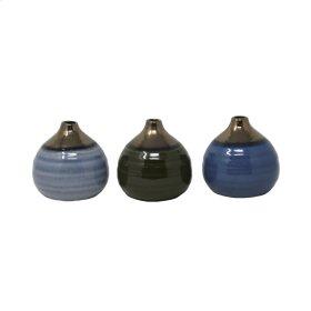 S/3 Glazed Bud Vases, Blue/green