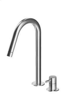 Two Hole Faucet With High Rotating Spout Solid Stainless Steel Available In Matte or Polished Finish Us Version Flow Rate 1