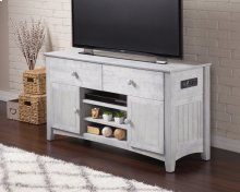 Nantucket 2 Drawer 50 inch Entertainment Console 26x50 with Adjustable Shelves and Charging Station in Driftwood Grey