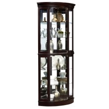 Curved 5 Shelf Corner Curio Cabinet in Sable Brown