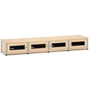 Salamander DesignsSynergy Solution 147, Quad-Width AV Cabinet, Maple with Aluminum Posts
