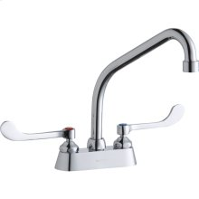 "Elkay 4"" Centerset with Exposed Deck Faucet with 8"" High Arc Spout 6"" Wristblade Handles Chrome"