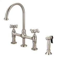 Harding Kitchen Bridge Faucet with Sidespray and Metal Button Cross Handles - Brushed Nickel