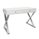 Two Drawer White Lacquer Desk W. Stainless X Legs Product Image