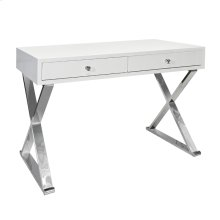 Two Drawer White Lacquer Desk W. Stainless X Legs