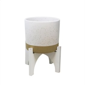 "Ceramic 12.5"" Planter On Stand, White"