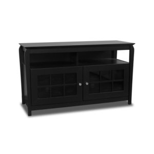 """48"""" Wide Credenza, Solid Wood and Veneer In A Black Finish, Accommodates Most 52"""" and Smaller Flat Panels"""